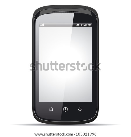 Realistic smartphone with blank screen on a white background. ep