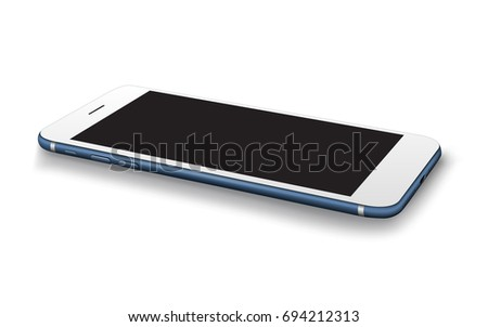 Realistic smartphones isolated on white background. Stock vector illustration for printing, web element, Game demo and application mockup.