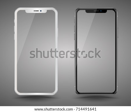 Realistic smartphones mockups black and white color. Stock vector illustration for printing advertising, web element, Game demo and application mockup.
