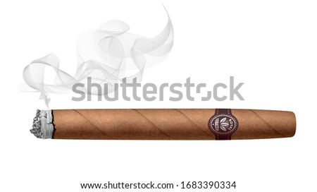 Realistic smoking cigar isolated on white background. RGB. Global colors ストックフォト ©