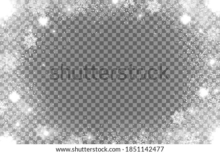 Realistic snow flakes oval frame on transparent background. Isolated vector Christmas border with falling snow and steam. Snowflake decoration, Xmas magic white snowfall texture, winter snowstorm