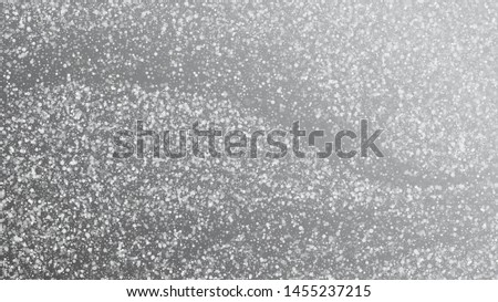 Realistic Snow, Gray Winter. Winter Holidays Storm Background. Advertising Frame, New Year, Christmas Weather. Falling Snowflakes, Night Sky. Elegant Scatter, Grunge White Glitter. Cold Realistic Snow