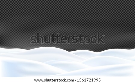 Realistic snow hills a winter landscape isolated on transparency background, a land covered with snowdrifts, picturesque snow background, winter holidays decoration