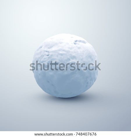 Realistic snowball. Vector seasonal illustration. Winter decoration. Textured snow sphere.