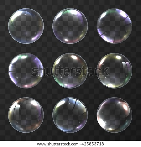 Realistic soap bubble with rainbow colors on black background. vector soap bubble illustration. Soap Bubble set. Object on a white background, Vector illustration