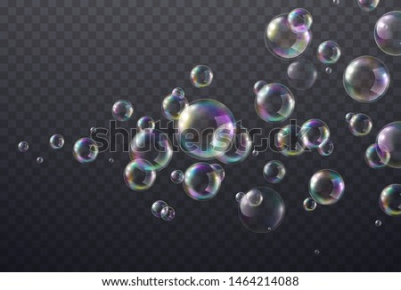 Realistic soap bubble with rainbow colors on transparent background. Vector water foam bubbles flow. Colorful iridescent glass balls or spheres template.