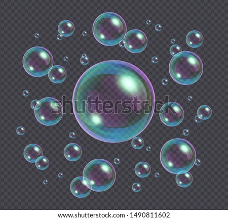 Realistic soap bubbles with rainbow reflection isolated on transparent background. Vector water foam bubbles. Colorful iridescent glass sphere.