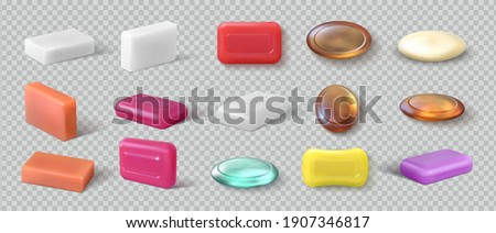 Realistic soap. 3D detergent. Cosmetic product for hygienic skincare. View from different sides of toiletries for washing hands. Glycerin or natural cleanser on transparent background. Vector spa set Foto stock ©
