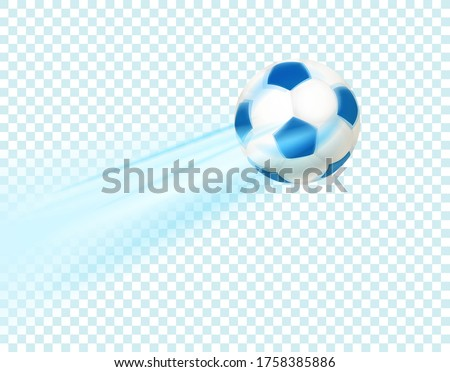 Realistic soccer ball. Flying leather ball isolated on transparent background