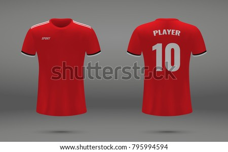 Realistic soccer jersey, t-shirt of Manchester United, uniform template for football club