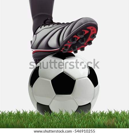 realistic soccer player foot on