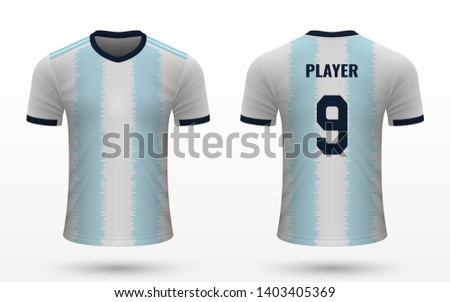 Realistic soccer shirt Argentina 2019, jersey template for football kit. Vector illustration