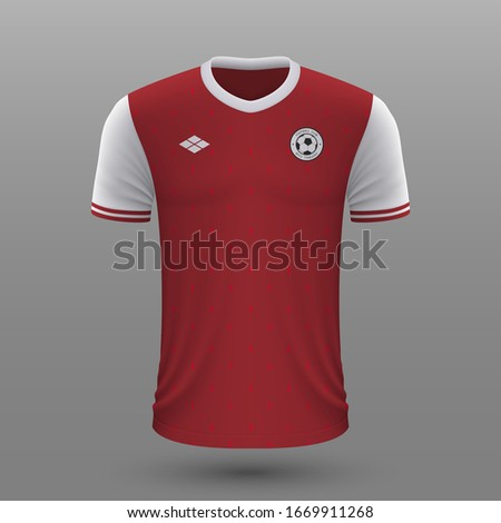 Realistic soccer shirt 2020, Austria home jersey template for football kit. ストックフォト ©