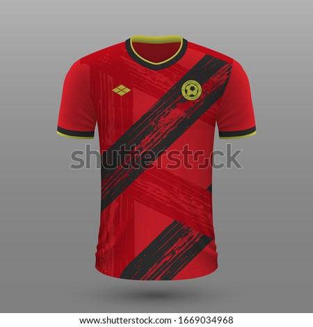 Realistic soccer shirt 2020, Belgium home jersey template for football kit. Vector illustration ストックフォト ©