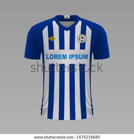 Realistic soccer shirt Brighton & Hove Albion 2020, jersey template for football kit. Vector illustration