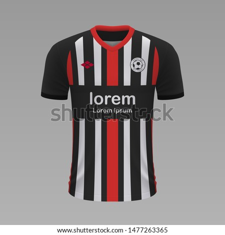 Realistic soccer shirt Eintracht Frankfurt 2020, jersey template for football kit. Vector illustration