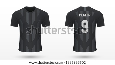 Realistic soccer shirt Eintracht Frankfurt, jersey template for football kit. Vector illustration