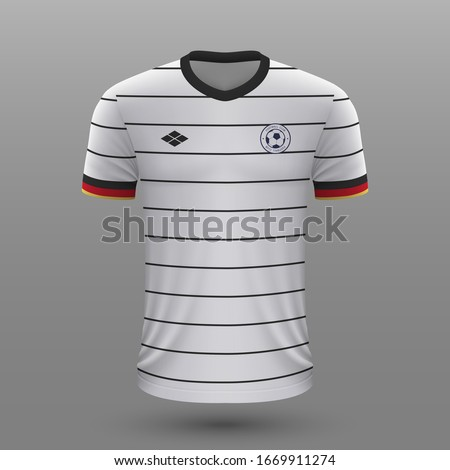 Realistic soccer shirt 2020, Germany  home jersey template for football kit. Foto d'archivio ©