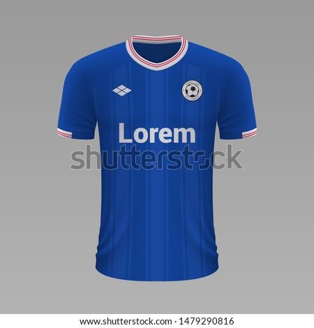 Realistic soccer shirt Glasgow Rangers 2020, jersey template for football kit. Vector illustration