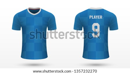 Realistic soccer shirt Rangers, jersey template for football kit
