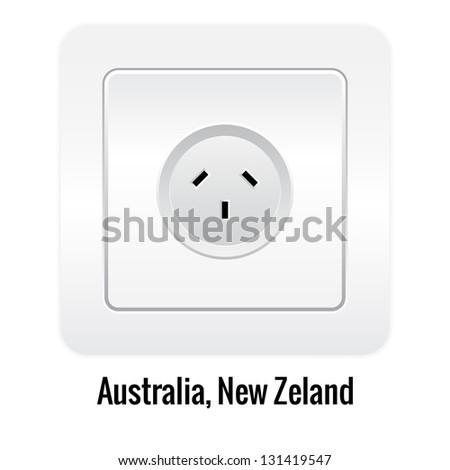 Realistic socket illustration isolated on white. Australia, New Zeland type.