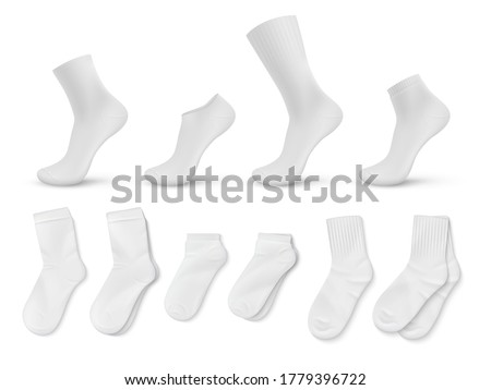 Realistic socks. White empty isolated foot wear mockup for brand identity or product design template. Vector illustration blank image trendy clothing set for legs