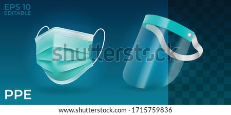Realistic Solid Personal Protective Equipment set. Face Shield and Medical mask in isolated vector