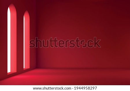 Realistic spacious 3d room with large windows. Red Empty room. vector illustration