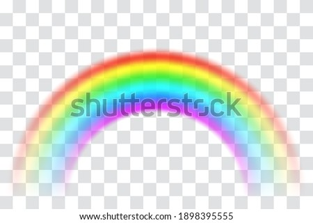Realistic spectrum rainbow on transparent background. Rain bow arch vector illustration, multicolor unicorn rainbow with mesh brushes included