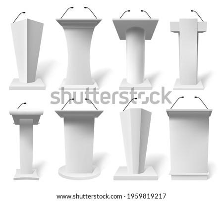 Realistic speech tribune. Debate podiums with microphone, 3d public presentation tribune vector illustration set. White podium tribune mockups. Presentation tribune with microphone Stock photo ©
