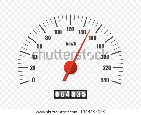 Realistic speedometer isolated on transparent background. Sport car odometer with motor miles measuring scale. Racing speed counter. Engine power concept template. Vector illustration Foto stock ©