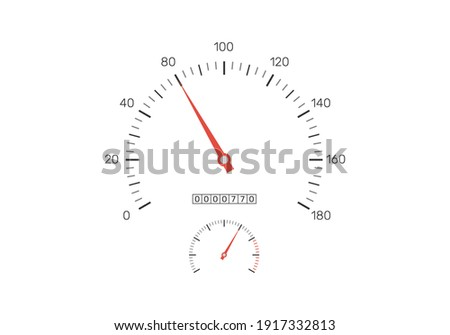 Realistic speedometer isolated on white background. Speedometer with red arrow and car odometer with motor miles or kilometers measuring the scale. Engine power concept. Vector illustration Foto stock ©