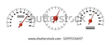 Realistic speedometer pack isolated on white background. Sport car odometer with motor miles measuring scale. Racing speed counter. Engine power concept template. Vector illustration Foto stock ©