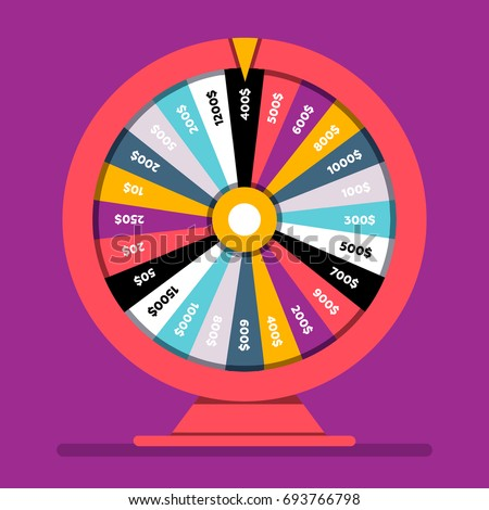 Realistic spinning fortune wheel, lucky roulette vector illustration, flat design