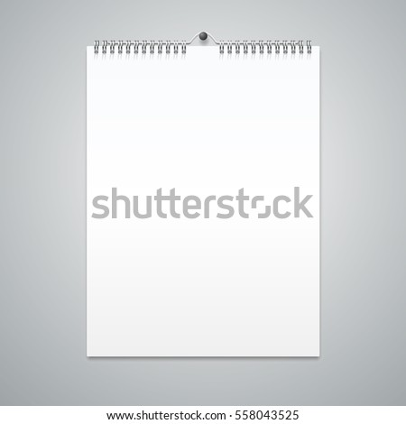 Realistic Spiral Calendar Template Blank Empty Mock Up Clean for Your Design. Vector illustration