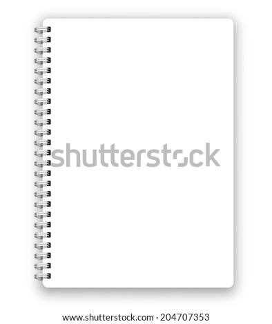 Realistic spiral vector blank notebook isolated on white