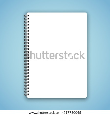 Realistic spiral vector blank notebook on calm blue background