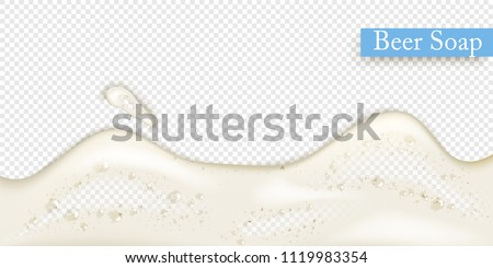Realistic splash Beer foam 3d on transparent background.