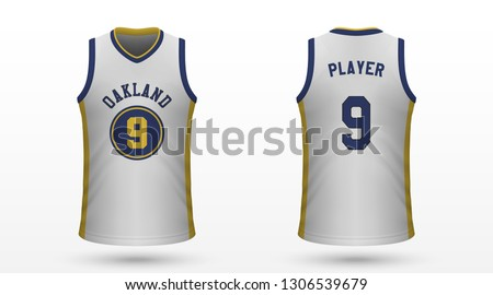 Realistic sport shirt, Golden State Warriors jersey template for basketball kit. Vector illustration