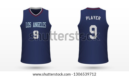 Realistic sport shirt, Los Angeles Clippers jersey template for basketball kit. Vector illustration