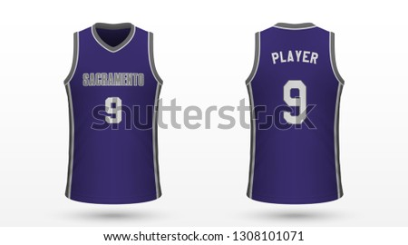 Realistic sport shirt, Sacramento Kings jersey template for basketball kit. Vector illustration