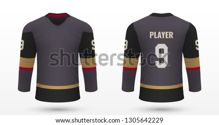 Realistic sport shirt, Vegas Golden Knights jersey template for ice hockey kit. Vector illustration