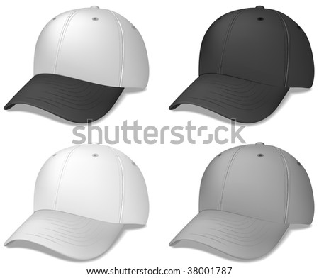 Realistic Sports Cap - vector illustration.  These were done with a gradient mesh.  Shadow is on a separate layer for easy editing/removal.
