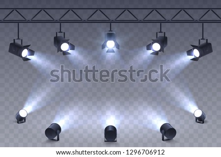 Realistic Spotlights isolated on transparent background. Scene illumination. Suspended and standing lighting. Elements for photo studio, show, scene. Vector illustration. #1296706912
