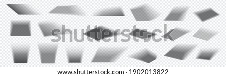 Realistic square shadow. Falling gray shades from rectangular objects. Collection of isolated overlay blackout effects on transparent background. Light from window. Vector decorative templates set Stockfoto ©
