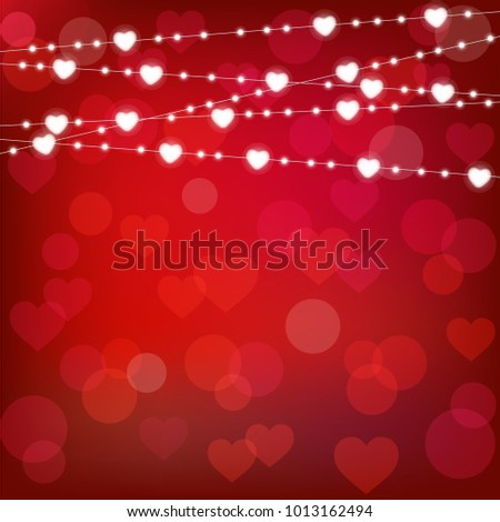 realistic st. valentine's lantern garland on red background. st. valentine's card