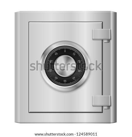 Realistic Steel safe. Illustration on white background for design