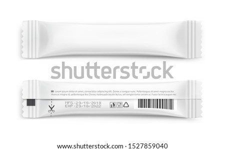 Realistic stick pack for products of the food and cosmetic industry on white background. Vector illustration. Possibility use for granulated, powder products. Coffee, 3 in 1, sugar. EPS10.
