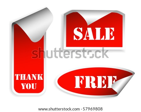 Realistic stickers with peeling corners. Vector illustration