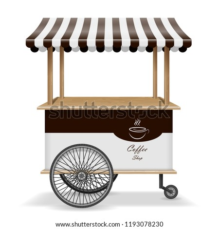 Realistic street food cart with wheels. Mobile coffee market stall template. Hot coffee kiosk store mockup isolated. Vector illustration